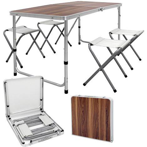 ECD Germany Campingtisch Set mit 4 Hocker - 120 x 60 x 55/63/70 cm höhenverstellbar - klappbar - Weiß / Creme - aus Aluminium und MDF - Campingmöbel Set Klappmöbel Klapptisch Falttisch
