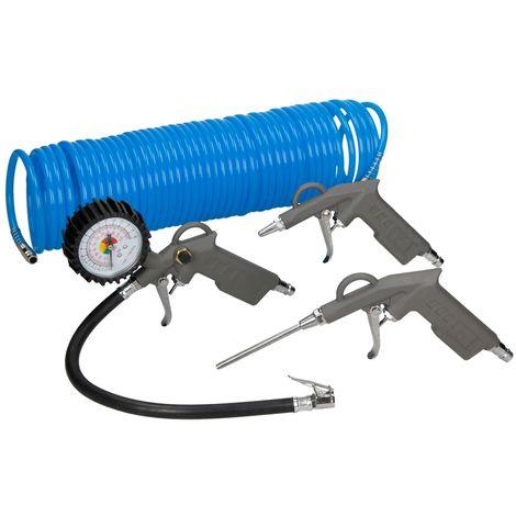 ECD Germany Druckluft Zubehör 4tlg. Set für Kompressor | 15m Knickfester Spiralschlauch | Reifendruckpistole mit Manometer | Ausblaspistole mit kurzer Düse | Ausbalspistole mit langer Düse