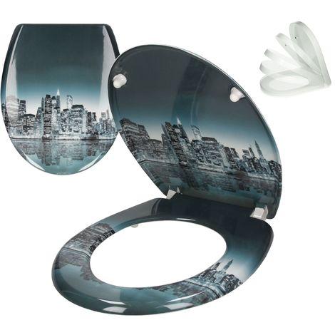 ECD Germany Duroplast Toilettendeckel Toilettensitz Klodeckel Klobrille Deckel WC Sitz Antibakteriell mit Soft-Close Absenkautomatik Easyfix Clip-System Brooklyn Motiv