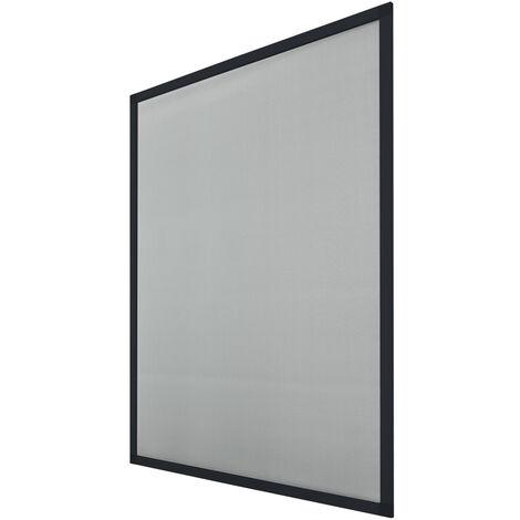 ECD Germany Ensemble de 2 porte grillagée avec cadre en aluminium - 120x140 cm - Anthracite - moustiquaire résistant aux intempéries en tissu en fibre de verre pour fenêtre