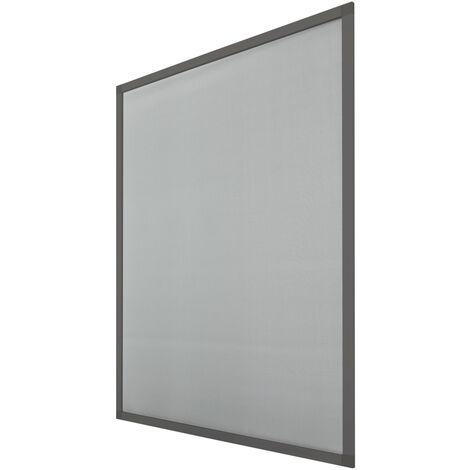 ECD Germany ensemble de deux moustiquaire avec cadre en aluminium - moustiquaire aux intempéries de tissu en fibre de verre pour fenêtre - 100 x 120 cm - gris - protection contre les insectes volantes Mückengitter anti-moustiques