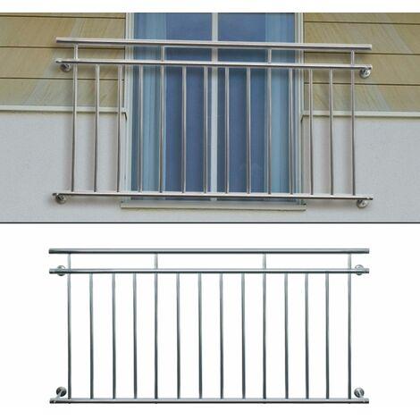 ECD Germany Französischer Balkon 128 x 90 cm | mit 9 Füllstäben | glänzend | aus Edelstahl | Balkongeländer Balkongitter Fenstergitter