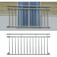 ECD Germany Französischer Balkon 156 x 90 cm, glänzender Edelstahl Balkongeländer