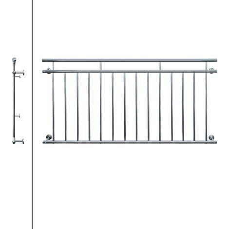 ECD Germany Franz/ösischer Balkon 184 x 90 cm gl/änzender Edelstahl Balkongel/änder