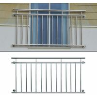 ECD Germany Französischer Balkon 225 x 90 cm, glänzender Edelstahl Balkongeländer