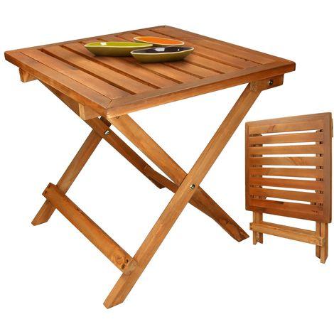 ECD Germany Gartentisch aus Kiefernholz 46 x 46 x 46 cm - klappbar - massiv - für Ihren Balkon Terrasse oder Garten - Holztisch Balkontisch Klapptisch Beistelltisch Campingtisch Tisch Gartenmöbel