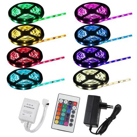 ECD Germany Kit bande ruban strip RGB guirlande lumineux 15m avec télécommande