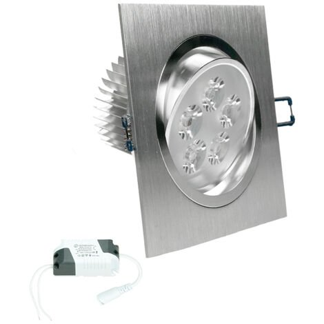 ECD Germany LED Spot 5W 230V - IP44 - Cuadrado 120 x 120 mm - 358 lúmenes - Blanco frío 6000K - Giratorio 30 ° - LED empotrable
