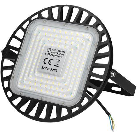ECD Germany LED UFO Industrielampe 100W - Kaltweiß 6000K - 10000 Lumen - Ø 27.5 cm - aus Aluminium - IP65 Wasserdicht - Hallenleuchte Hallenstrahler Hallenbeleuchtung Hallenfluter