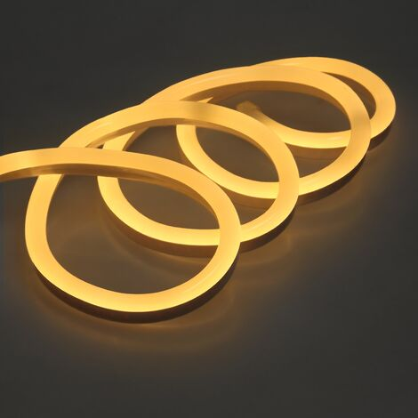 ECD Germany Luz Neon Tira LED 4m - SMD 2835 - 120 LED / m - 9W / m - 230V - Blanco cálido 3000K - Flexible - Impermeable IP68 - tira de LED tubo de luz decoración cable luminoso
