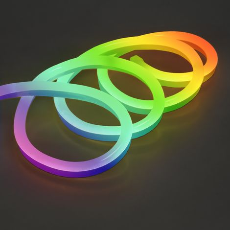 ECD Germany Luz Neon Tira LED RGB 2m - SMD 2835 - 120 LED / m - 9W / m - 230V - con control remoto - 4500K - Flexible - Impermeable IP68 - tira de LED tubo de luz decoración cable luminoso