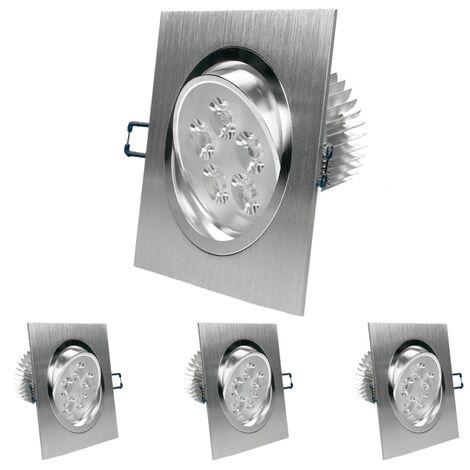 ECD Germany paquet de 4 LED encastré éclairage 5W 230V - angulaire 120 x 120 mm - 334 Lumen - blanc chaud 3000K - pivotée de 30 ° - IP44 - Luminaire Lampe spot