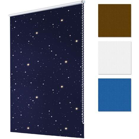 ECD Germany Persiana de oscurecimiento 85 x 150 cm - Color Azul estrellas - Klemmfix - sin necesidad de taladrar - Estor opaco Persiana enrollable