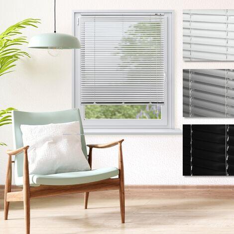 ECD Germany Persiana veneciana aluminio 120 x 130 cm - blanca - láminas de aluminio - Protección luz y privacidad - Para ventanas y puertas - Incluye todas las piezas de montaje - Cortina plisada