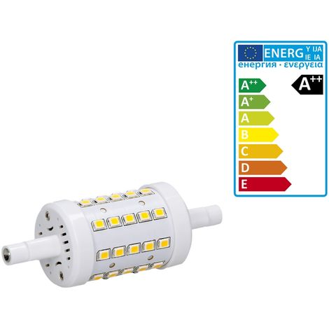 ECD Germany R7S Ampoule LED 7W 78mm 480 lumens angle de faisceau de 360 AC 220-240 remplace ampoule halogène 45W pas réglable blanc froid