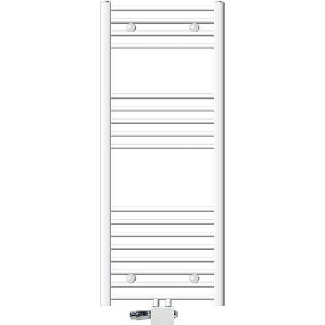 ECD Germany Radiador calefactor blanco para baño 500 x 1200 mm incluye kit de montaje Potencia calorífica (vatios a 75/65/20 °): 558