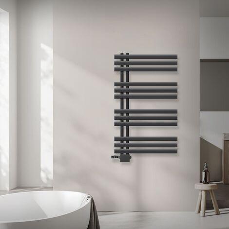 ECD Germany Radiador de antracita 600x1000 mm con termostato + juego de conexión central - kit de montaje en pared - para sistema de calefacción de dos tubos - con posición anticongelante - Universal