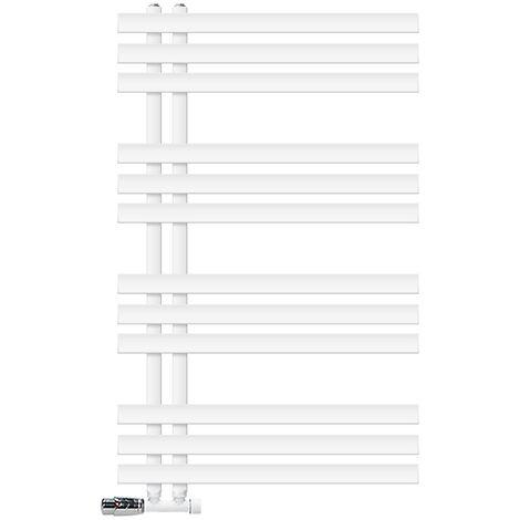 ECD Germany Radiador de baño blanco 600 x 1000 mm con termostato + juego de conexión central - kit de montaje en pared - protección contra congelamiento