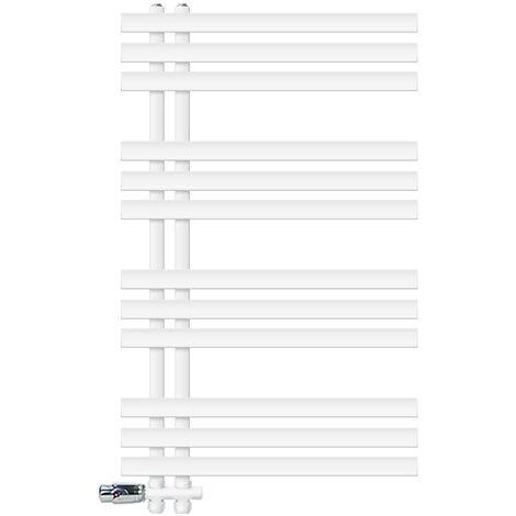 ECD Germany Radiador de baño blanco 600x1000 mm con termostato + juego de conexión central - kit de montaje en pared - sistema de calefacción contra heladas con dos tubos
