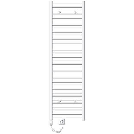 ECD Germany Radiador de baño Eléctrico - 500 x 1800 mm - Blanco - curvado con conexión lateral - Radiador Toallero calentador Secador de toallas 900W