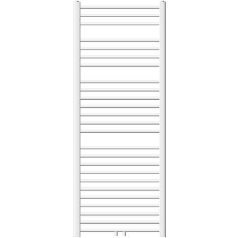 ECD Germany Radiador de toalla calentador de toalla - 600 x 1500 mm - Blanco - Curvado - con Conexión en medio - Radiador de calefacción toallero - no electrico