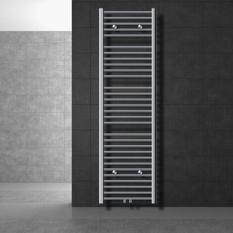 ECD Germany Radiador de toalla Sahara - 500 x 1800 mm - Cromado - Recto con conexión central - Calentador de toalla Secador de toallas