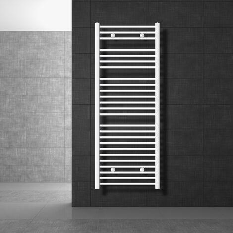 ECD Germany Radiador de toallas Sahara - 600 x 1500 mm - Blanco - Recto con conexión lateral - Radiador Calentador de toallas