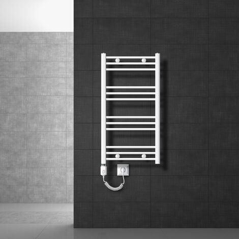 ECD Germany Radiador eléctrico baño - 500 x 800 mm - blanco - plano - con conexión lateral - 600W - Radiador Calentador de toallas