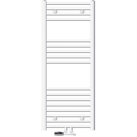 ECD Germany Radiador para baño 500 x 1200 mm color blanco incluye kit de montaje Potencia calorífica (vatios a 75/65/20 °): 558