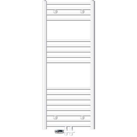 ECD Germany Radiador para baño 500 x 1200 mm toallero curvado blanco con conexión central y kit de montaje + termostato universal