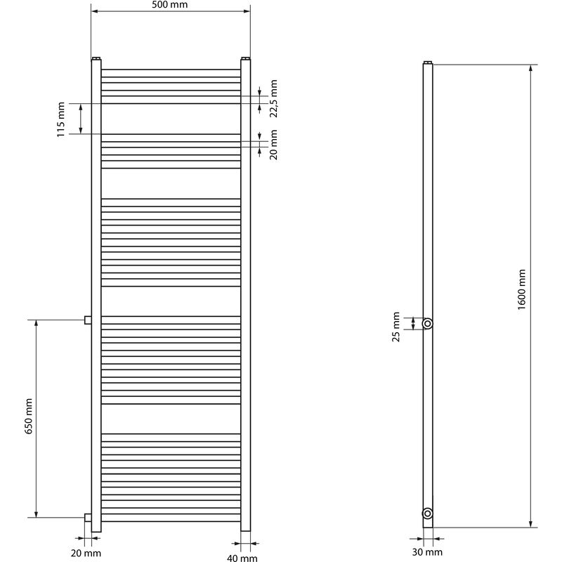 Plano 400 x 1200 mm Calentador de toallas 1200W con conexi/ón lateral ECD Germany Radiador el/éctrico de toallas Cromo