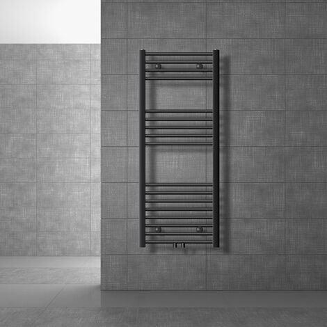 ECD Germany Radiador toallero baño - 500 x 1200 mm - Antracita - curvado - con conexión lateral - Radiador toallero calefaccion