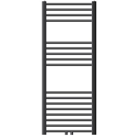 ECD Germany Radiador toallero baño - 500 x 1200 mm - Antracita - recto - con conexión lateral - Radiador toallero calefaccion