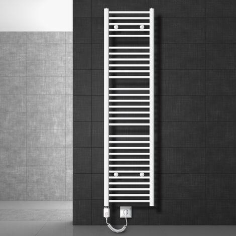 ECD Germany Radiador toallero de baño eléctrico 1200W - 400 x 1800 mm - blanco - plano - con conexión lateral - Toalleros electricos