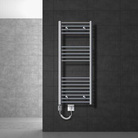 ECD Germany Radiador Toallero eléctrico - 500 x 1200 mm - blanco - curvado con conexión lateral - radiador toallero Secador de toallas 1200W
