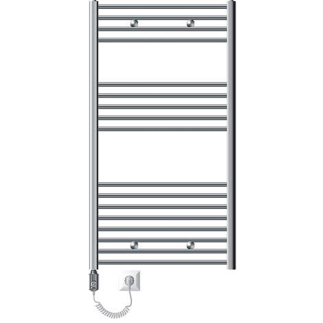 ECD Germany Radiador Toallero eléctrico - 750 x 1200 mm - cromado - diseño plano - 900W - Radiador Calentador de baño