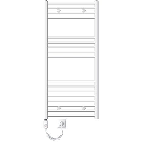 ECD Germany Radiador toallero eléctrico para baño - 600 x 1200 mm - 1200W - blanco - curvado - con conexión lateral - Calentador de toallas electrico