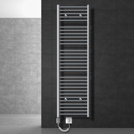 ECD Germany Radiador toallero para baño eléctrico 1200W - 500 x 1800 mm - Cromado - recto con conexión lateral - secador de toallas
