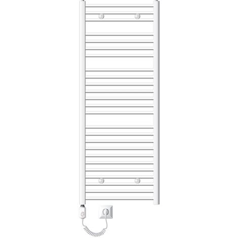 ECD Germany Radiador toallero para baño eléctrico 1200W - 600 x 1500 mm - blanco - recto con conexión lateral - calentador de toallas