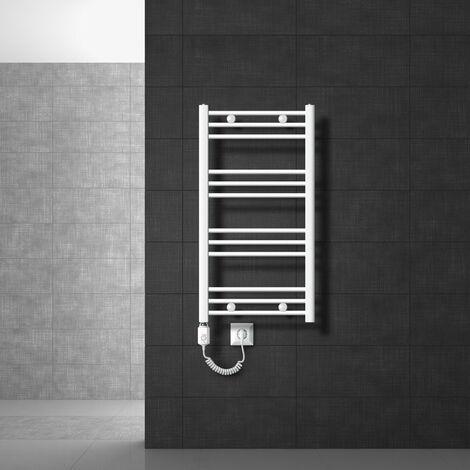 ECD Germany Radiateur de salle de bain électrique 300W - 500 x 800 mm - blanc - droit avec raccordement latéral - sèche-serviettes