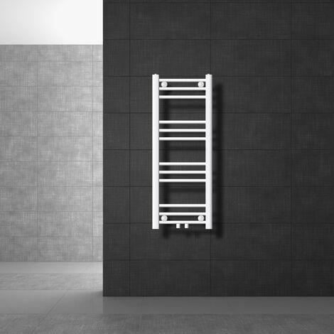 ECD Germany Radiateur Design Radiateur Droit sèche-serviettes Porte Serviette Mural 300 x 1800 mm Blanc avec Raccordement Central - pas électrique