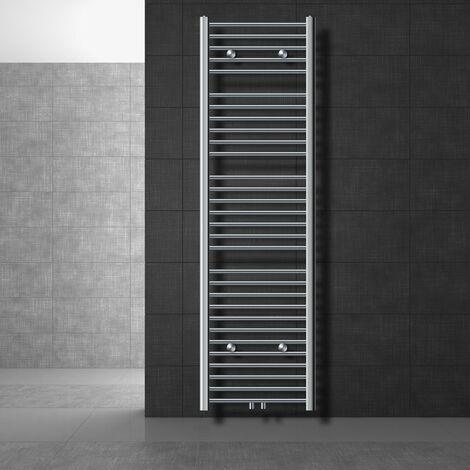 ECD Germany Radiateur Design Radiateur Simple sèche-serviettes Porte Serviette Mural 500 x 1800 mm Chrome avec Raccordement Central