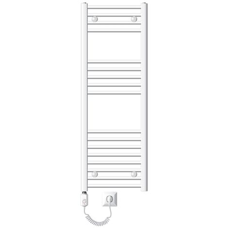 ECD Germany Radiateur sèche-serviettes électrique avec résistance 1200W - 400 x 1200 mm - blanc - courbé avec raccordement latéral - Sèche serviettes