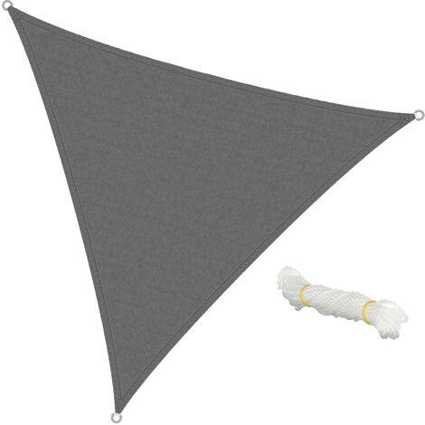 ECD Germany Sonnensegel - Dreieck 3,6x3,6x3,6m - Grau - HDPE - mit UV Schutz - Inklusive Spannseile - Sonnenschutz Schattenspender für Garten Balkon und Terrasse