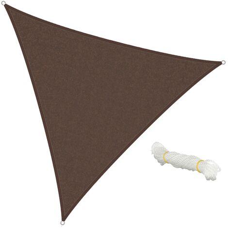 ECD Germany Sonnensegel - Dreieck 5x5x5m - Braun - HDPE - mit UV Schutz - Inklusive Spannseile - Sonnenschutz Schattenspender für Garten Balkon und Terrasse
