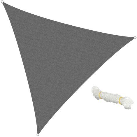 ECD Germany Sonnensegel - Dreieck 5x5x5m - Grau - HDPE - mit UV Schutz - Inklusive Spannseile - Sonnenschutz Schattenspender für Garten Balkon und Terrasse