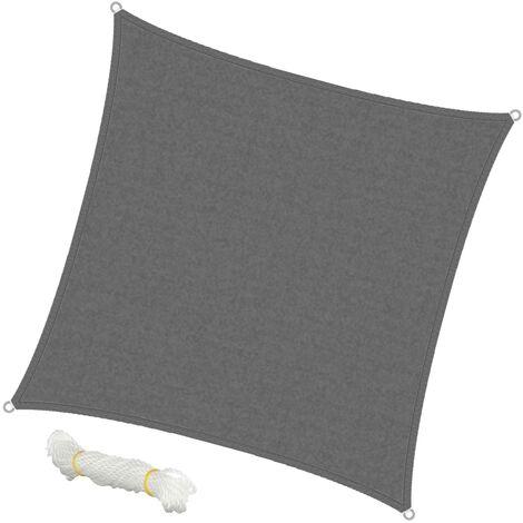 ECD Germany Sonnensegel - Quadrat 3,6x3,6 m - Grau - HDPE - mit UV Schutz - Inklusive Spannseile - Sonnenschutz Schattenspender für Garten Balkon und Terrasse