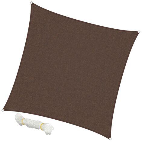 ECD Germany Sonnensegel - Quadrat 5x5m - Braun - HDPE - mit UV Schutz - Inklusive Spannseile - Sonnenschutz Schattenspender für Garten Balkon und Terrasse