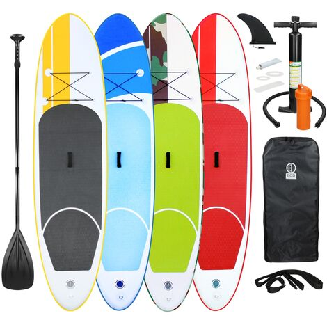 ECD Germany Stand up paddle board gonflable SUP- 308 x 76 x 10 cm - Jaune - PVC - Pagaie en aluminium / PVC - comprend pompe, sac de transport et accessoires - Planche de surf - Divers modèles