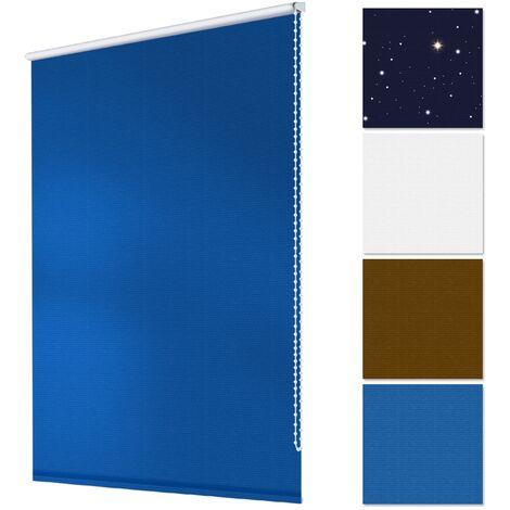 ECD Germany Store enroulant occultant 80 x 150 cm Store pour la protection solaire Klemmfix sans perçage fixation simple avec serrage Matériel de montage inclus Couleur Bleu foncé